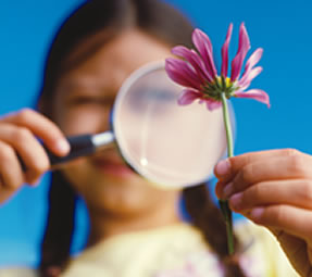 Girl looking at flower with magnifying glass