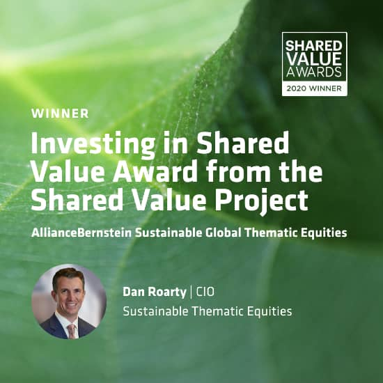Social Post featuring Shared Value Award Winner, Dan Roarty | CIO, Sustainable Thematic Equities