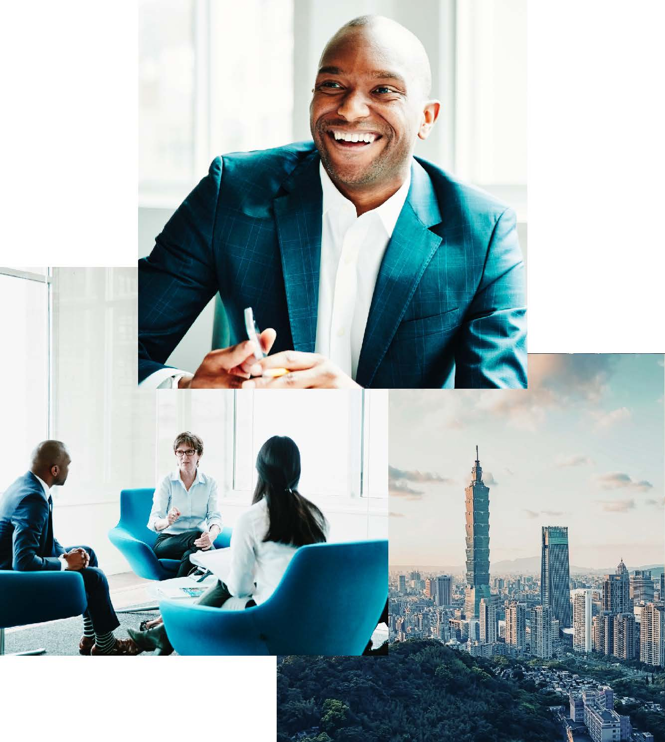 Triad of images, black man smiling, three people sitting in chairs having a business meeting and city scape of Taiwan